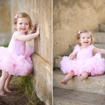 one year old baby girl wearing a pink tutu dress photographed by Santa Barbara and San Francisco bay area baby photographer Sarka Photography