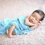 newborn baby boy sleeping iblue wrap photographed by San Francisco Bay Area and Santa Barbara baby photographer Sarka Photography