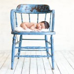 newborn baby boy sleeping on a vintage blue chair photographed by San Francisco Bay Area and Santa Barbara baby photographer Sarka Photography