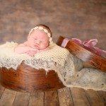newborn baby sleeping in a vintage hat box photographed by San Francisco Bay Area and Santa Barbara baby photographer Sarka Photography