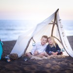 children sitting in a beach tent photographed by Santa Barbara and San Francisco Bay area photographer Sarka Photography