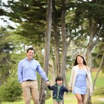young family walking on a path in a park photographed by Santa Barbara and San Francisco Bay area photographer Sarka Photography