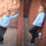 young boy standing by a brick wall photographed by Santa Barbara and San Francisco Bay area photographer Sarka Photography