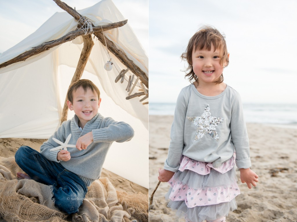 brother and sister playing on the beach photographed by Santa Barbara children and family photographer by Sarka Photography