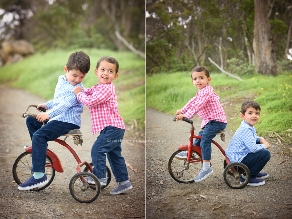 two brother riding a vintage tricycle photographed by San Mateo Bay area and Santa Barbara family photographer Sarka