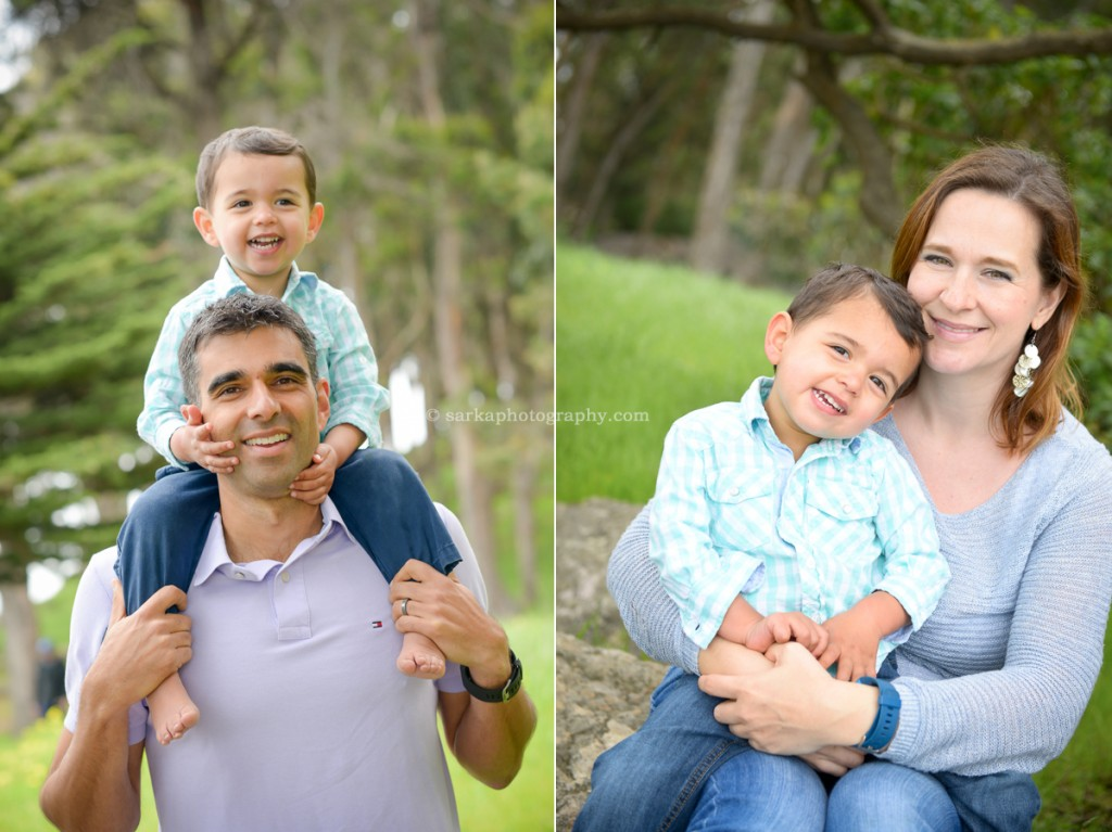 parents holding their toddler son during their family photo session in San Mateo local park