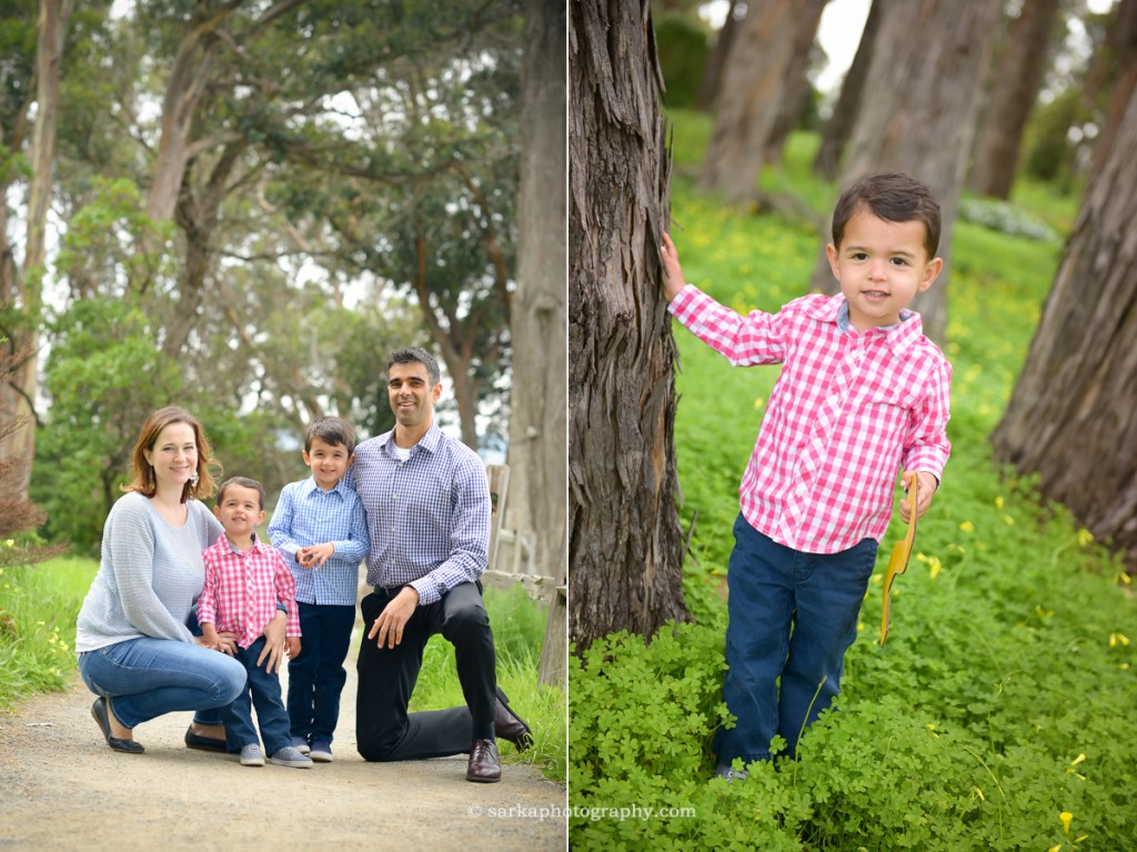two your old boy standing in a park and a young family during their family portrait session in San Mateo and San Francisco Bay area photographed by family photographer Sarka photography